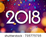 happy new year 2018 background... | Shutterstock .eps vector #735775735