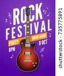 rock festival flyer event... | Shutterstock .eps vector #735775891