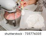 flour and butter in dough...   Shutterstock . vector #735776335