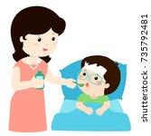 mother giving son medicine... | Shutterstock .eps vector #735792481