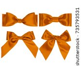 set of four orange silk ribbon... | Shutterstock . vector #735793531