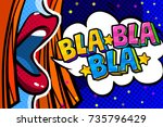 open mouth and bla bla bla... | Shutterstock .eps vector #735796429