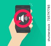 no sound sign for mobile phone... | Shutterstock .eps vector #735797785