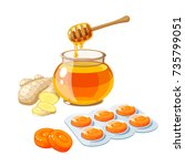 cough drops. sore throat remedy ... | Shutterstock .eps vector #735799051