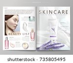 cosmetic magazine template ... | Shutterstock .eps vector #735805495