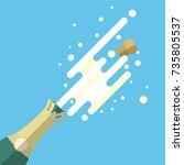 champagne popping flat vector... | Shutterstock .eps vector #735805537