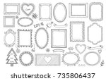 big set of hand drawn isolated... | Shutterstock .eps vector #735806437