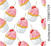 hand drawn cartoon cherry... | Shutterstock .eps vector #735807529