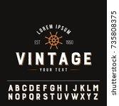 ship wheel vintage logo flat... | Shutterstock .eps vector #735808375