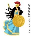 palas athena minerva greek...   Shutterstock .eps vector #735808645
