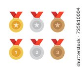 gold  silver and bronze medal... | Shutterstock .eps vector #735810004