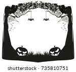halloween night   black and... | Shutterstock .eps vector #735810751