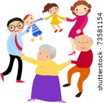 happy family holding hands | Shutterstock .eps vector #73581154
