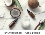coconut and coconut oil. top... | Shutterstock . vector #735814585