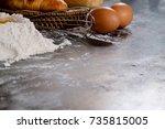 dough preparation recipe bread  ... | Shutterstock . vector #735815005