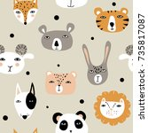 funny hand drawn animals. cute... | Shutterstock .eps vector #735817087