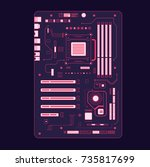 motherboard art. vector... | Shutterstock .eps vector #735817699
