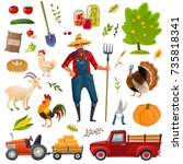 a large set of farm theme... | Shutterstock .eps vector #735818341