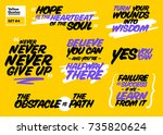 vector set of short positive... | Shutterstock .eps vector #735820624