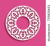 circle frame with lace border... | Shutterstock .eps vector #735820651