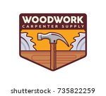 isolated vintage woodwork...   Shutterstock .eps vector #735822259