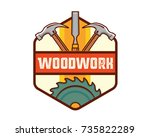 isolated vintage woodwork...   Shutterstock .eps vector #735822289