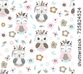 Stock vector seamless pattern with cute cartoon owls and flowers in pastel colors on a white background vector 735824524