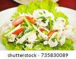 thai spicy squid and vegetable... | Shutterstock . vector #735830089