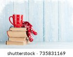 hot chocolate cup and mittens... | Shutterstock . vector #735831169