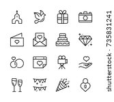 wedding icon set. | Shutterstock .eps vector #735831241