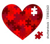 Heart Jigsaw Puzzle In Vector...