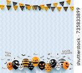 halloween background with... | Shutterstock .eps vector #735833899