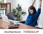 asia woman relax after working... | Shutterstock . vector #735836119