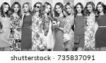 fashion collage. group of... | Shutterstock . vector #735837091