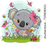 cute cartoon koala girl on a... | Shutterstock .eps vector #735838321