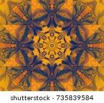 seamless orange kaleidoscope... | Shutterstock . vector #735839584