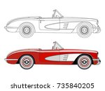 detailed side of a flat red... | Shutterstock .eps vector #735840205