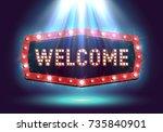 shining retro billboard... | Shutterstock .eps vector #735840901
