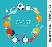 concept of sport infographics.... | Shutterstock .eps vector #735842401