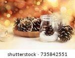 winter holidays christmas decor....   Shutterstock . vector #735842551