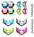 set of abstract techno minimal... | Shutterstock .eps vector #735844189