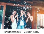 celebration party group of... | Shutterstock . vector #735844387