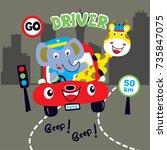 animal trip cartoon vector...   Shutterstock .eps vector #735847075