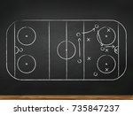 chalkboard with hockey game... | Shutterstock .eps vector #735847237