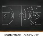 chalkboard with basketball game ... | Shutterstock .eps vector #735847249