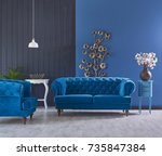 turquoise sofa classic living... | Shutterstock . vector #735847384