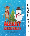 new year's card with a snowman... | Shutterstock .eps vector #735847975