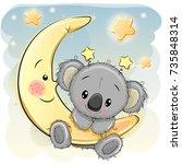 greeting card cute cartoon... | Shutterstock .eps vector #735848314