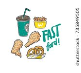set of fast food hand drawn... | Shutterstock .eps vector #735849505