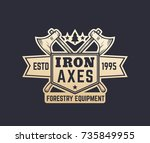 forestry equipment vintage logo ... | Shutterstock .eps vector #735849955